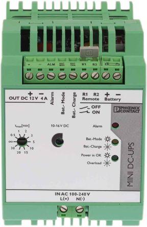 Phoenix Contact MINI-DC-UPS/12DC/4 UPS Uninterruptible Power Supply, 12V dc  Output, 4A