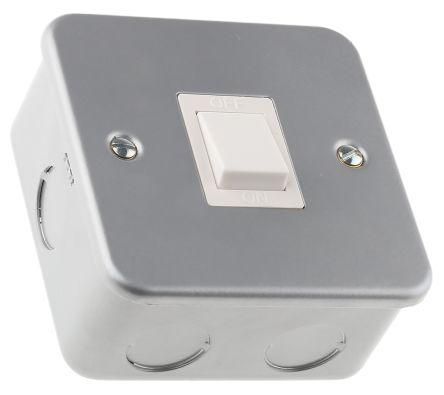 Grey 20 A Surface Mount Rocker Light Switch Grey 5 mm, 1 Way Screwed Matte, 1 Gang BS Standard 86.5mm Not Illuminated
