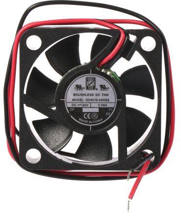 RS PRO, 24 V dc, DC Axial Fan, 40 x 40 x 10mm, 11.4m³/h, 1.4W