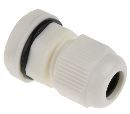 RS Pro M12 White Nylon, IP68 Cable Gland With Locknut