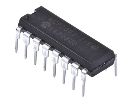 Microchip MCP3008-I/P, 10 bit Serial ADC Pseudo Differential, Single Ended Input, 16-Pin PDIP