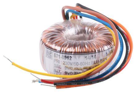 70051K | 2 Output Toroidal Transformer, 15VA, 2 x 9V ac | RS