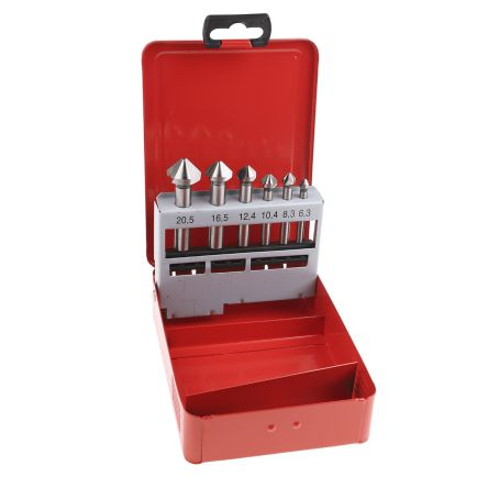 RS PRO Countersink Set x6.3 mm, 8.3 mm, 10.4 mm, 12.4 mm, 16.5 mm, 20.5 mm6 Piece