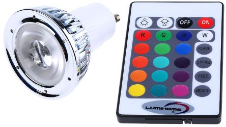 GU10 LED Cluster Light, Red/Green/Blue, 230 V ac, 50mm, 50° view angle