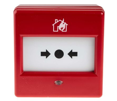Red Break Glass Call Point, 87 x 87 x 53mm