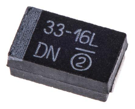 Vishay 33μF 16V dc Tantalum Capacitor MnO2 Solid ±10% Tolerance 293D Series