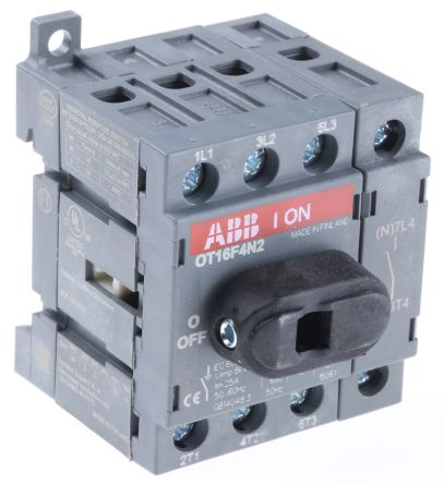 4 Pole DIN Rail Non Fused Isolator Switch, 16 A, 7.5 kW, IP20