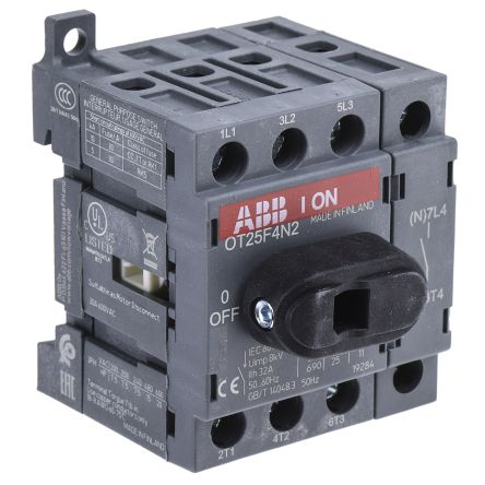 4 Pole DIN Rail Non Fused Isolator Switch, 25 A, 9 kW, IP20