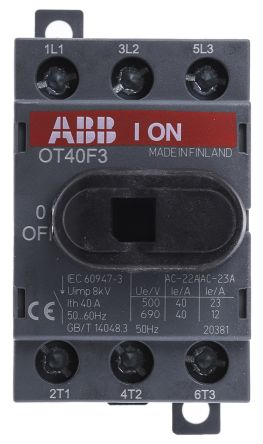 Switch,discon,non-fuse,DIN rail, 3P 40A