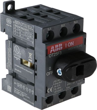 Switch,discon,non-fuse,DIN rail, 3P 25A