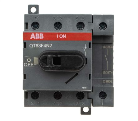 4 Pole DIN Rail Non Fused Isolator Switch, 63 A, 22 kW, IP20
