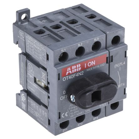 1SCA104932R1001 | 4 Pole DIN Rail Non Fused Isolator Switch, 40 A ...