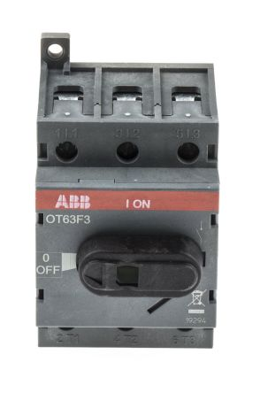 3 Pole DIN Rail Non Fused Isolator Switch, 63 A, 22 kW, IP20