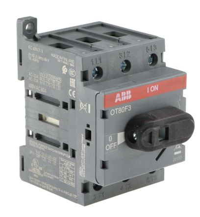 3 Pole DIN Rail Non Fused Isolator Switch, 80 A, 37 kW, IP20