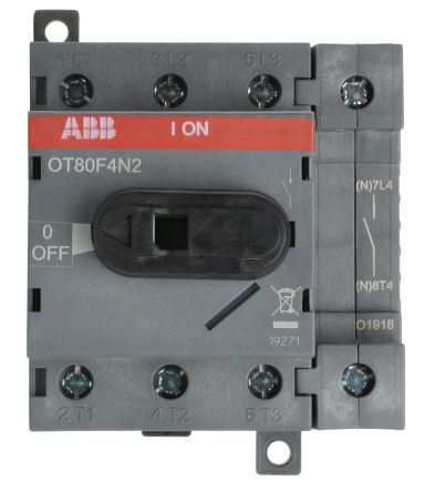 4 Pole DIN Rail Non Fused Isolator Switch, 80 A, 37 kW, IP20