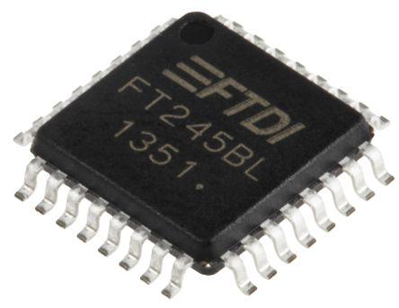 FTDI Chip FT245BL, FIFO Memory, Single, Bi-Directional, 3 → 5.25 V, 4.35 → 5.25 V, 32-Pin LQFP