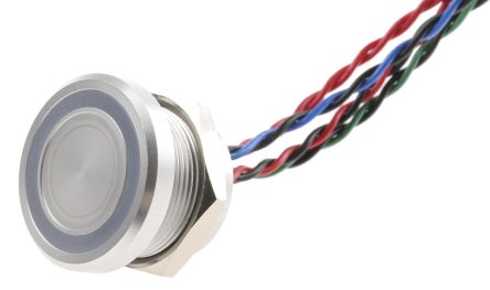 Illuminated Wire Lead Piezo Switch, , IP68, 200 mA@ 24 V dc, NO, -40 → +75°C