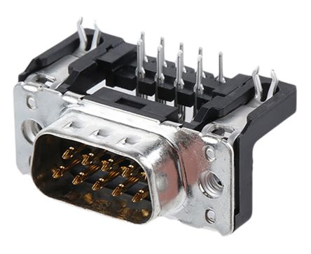 Harting 9 Way Right Angle Through Hole PCB D-sub Connector Plug, 2.74mm on