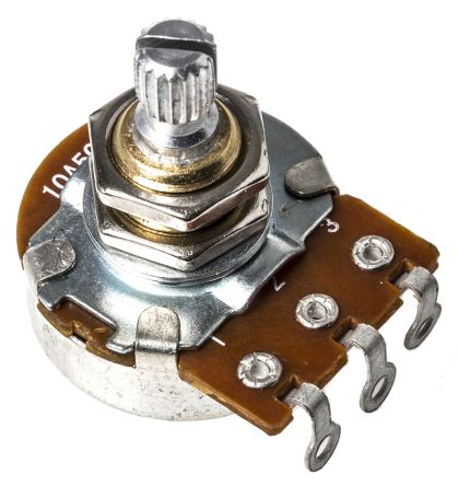 Bourns 1 Gang Rotary Carbon Potentiometer with a 6 mm Dia. Shaft, 500kΩ, ±20%, 0.25W, Audio PDB241-GTR01-504A2