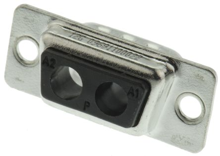Harting Cable Mount Hybrid Solder D-Sub Connector Plug, 2 (Power/Coax) Contacts