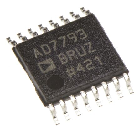 Analog Devices AD7793BRUZ, 24-bit Serial ADC Differential Input, 16-Pin TSSOP