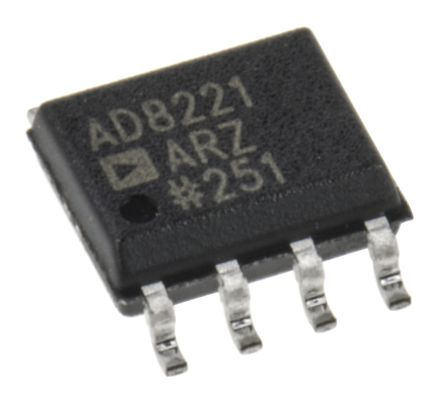 Analog Devices AD8221ARZ, Instrumentation Amplifier, 0.06mV Offset 825kHz, 8-Pin SOIC