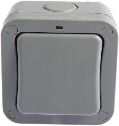 Grey 20 A Surface Mount Rocker Light Switch Grey, 2 Way Screwed Matte, 1  Gang BS Standard, 250 V 91mm LED IP66