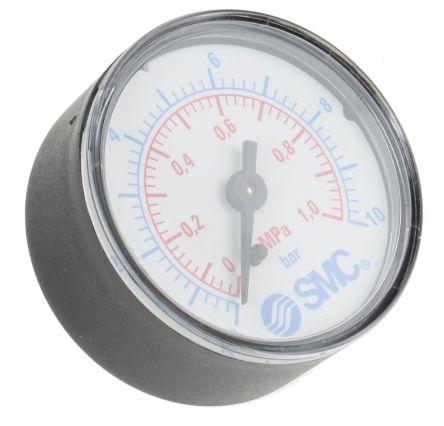 SMC K8-10-50 Analogue Positive Pressure Gauge Back Entry 1Mpa, Connection Size G 1/8