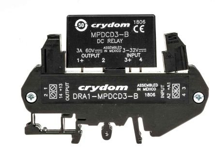 DRA1MPDCD3B Crydom 3 A SPNC Solid State Relay DC DIN Rail - Solid State Relay Brands