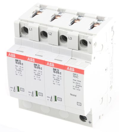 3 Phase Industrial Surge Protector, 15kA, 275 V, DIN Rail Mount