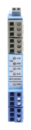 MTL 2 Channel Isolation Barrier With NAMUR Input, Relay Output, 10.5 V max, 14mA max