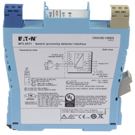 MTL 1 Channel Isolation Barrier With Relay Output, Switch / NAMUR Input, 10.5 V max, 14mA max