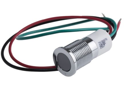 RS Pro LED Anzeigelampe grün, rot, gelb, bündige Blende verchromt ...