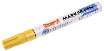 Ambersil Yellow 3mm Medium Tip Paint Marker Pen For Use With Cardboard Glass Metal Paper Plastic Rubber Textiles