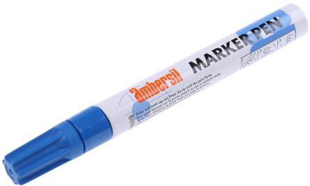 Ambersil Blue 3mm Medium Tip Paint Marker Pen For Use With Cardboard Glass Metal Paper Plastic Rubber Textiles