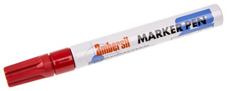 Ambersil Red 3mm Medium Tip Paint Marker Pen For Use With Cardboard Glass Metal Paper Plastic Rubber Textiles