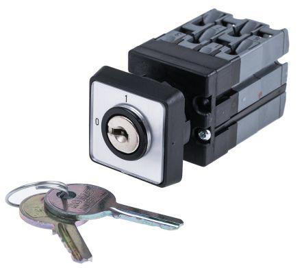 2 positions 90° Rotary Cam Switch, 110 V dc, 400 V ac, 10 A, Key