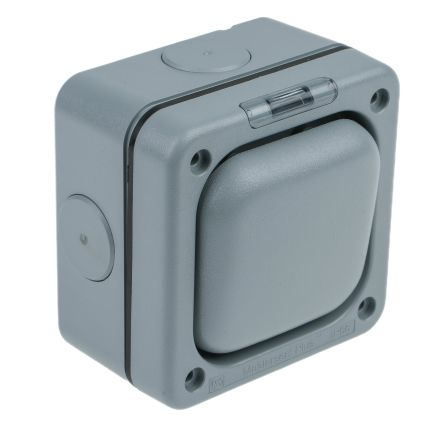 Grey 10 A Flush Mount Rocker Light Switch Grey 20 mm, 2 Way Screwed Matte, 1 Gang BS Standard, 250 V ac 95mm Neon IP66