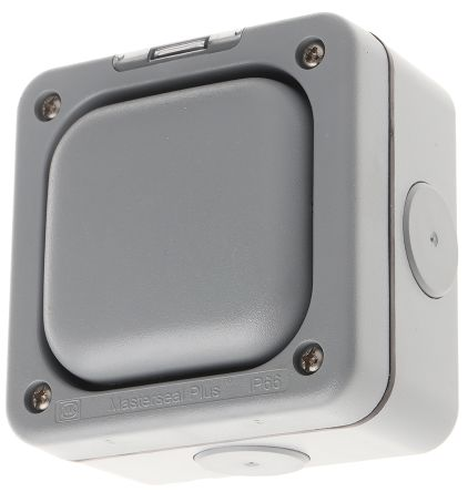 Switch Enclosure for use with Masterseal Plus Switch, Neon Module, 95mm Width,95mm Length, Screw Fixing
