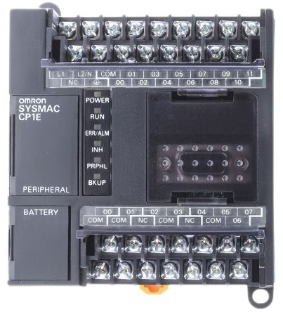 Omron CP1E PLC CPU, USB Networking Computer Interface, 32 kB Program  Capacity, 12 Inputs, 8 (Relay) Outputs