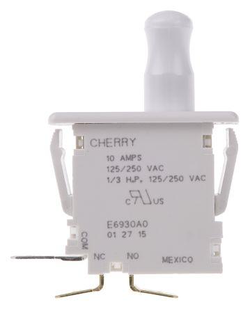 Cherry Single Pole 10 Amp Panel Mount Momentary Push Button Switch