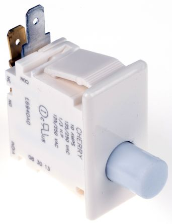 Single Pole Double Throw (SPDT) Push Button Switch, 10 A @ 250 V ac