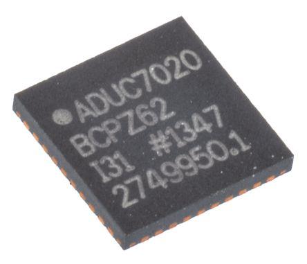 Analog Devices ADUC7020BCPZ62, 16/32bit ARM7TDMI Microcontroller, 44MHz, 62 kB Flash, 40-Pin LFCSP WQ