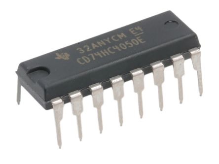 Texas Instruments CD74HC4050EE4, Hex Buffer, Converter, Non-Inverting, 2 → 6 V, 16-Pin PDIP