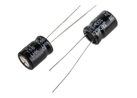 RS PRO 100μF 63V dc Aluminium Electrolytic Capacitor, Through Hole 8 (Dia.) x 11mm +105°C 8mm 3.5mm 11mm