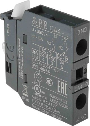 Front Mount Auxiliary Contact with Screw Terminal, NO, 6 A, 600 V dc, 690 V ac