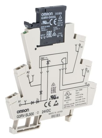 Omron 3 A SPST Solid State Relay, DIN Rail, MOSFET, 26.4 V dc Maximum on