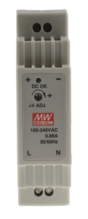 Switch Mode DIN Rail Panel Mount Power Supply, 12W, 5V dc/ 2.4A