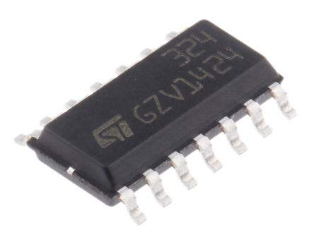 LM324DT STMicroelectronics, Low Power, Op Amp, 1.3MHz, 5 → 28 V, 14-Pin SOIC