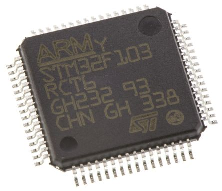 STMicroelectronics STM32F103RCT6, 32bit ARM Cortex M3 Microcontroller, STM32F, 72MHz, 256 kB Flash, 64-Pin LQFP